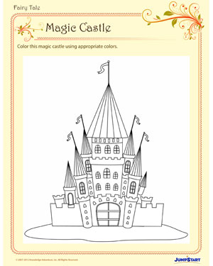 Magic Castle - Free Fairy Tale Coloring Page for Kindergarten