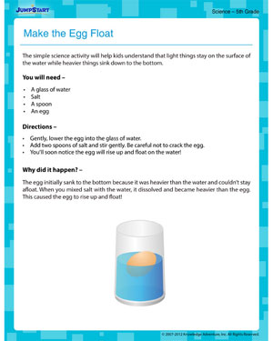 Make the Egg Float!! - free activities on science