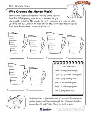 math worksheet : who ordered the mango mash  math worksheets on fractions for kids  : Fraction Math Worksheets