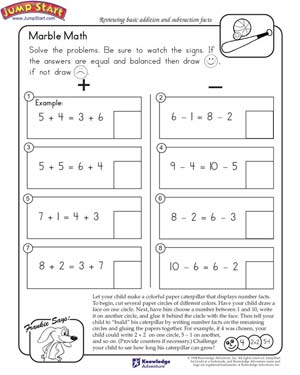 math worksheet : marble math  free math worksheet for kids  jumpstart : Addition And Subtraction Worksheets For Kindergarten