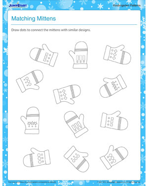 matching mittens pattern printable for kindergarten jumpstart. Black Bedroom Furniture Sets. Home Design Ideas