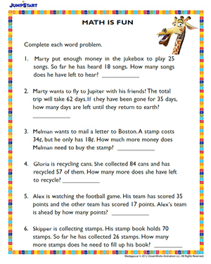 math worksheet : math is fun  free madagascar themed worksheet  jumpstart : 3rd Grade Fun Math Worksheets