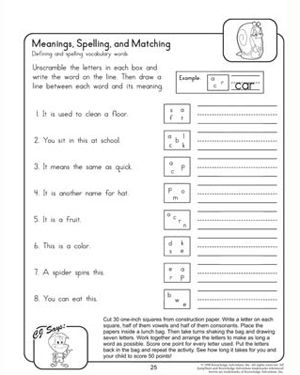 Printables Spelling Printable Worksheets meanings spellings and matching printable 2nd grade english matching