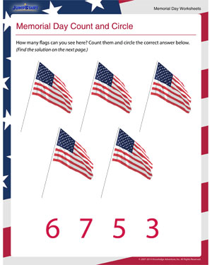 Memorial Day Count and Circle – Counting Worksheet and Printable for Memorial Day