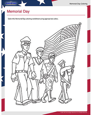 image relating to Memorial Day Printable identified as Memorial Working day Printable Coloring Worksheet for Kindergarten