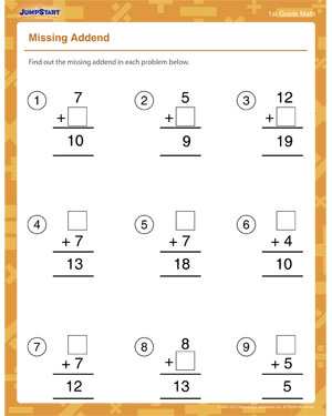 Missing Addend – Printable Addition Worksheet for 1st Grade – JumpStart