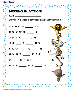 missing in action free alphabet worksheets for kindergarten jumpstart. Black Bedroom Furniture Sets. Home Design Ideas