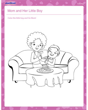 Mom and Her Little Boy – Mother's Day Coloring Pages for Kids