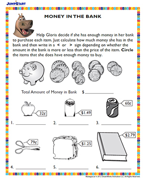 math worksheet : money in the bank  free printable money worksheet  jumpstart : Money Worksheets For Kindergarten