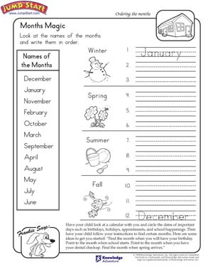 Months Magic \u2013 Worksheet On The Months Of The Year \u2013 Jumpstart Months Of The Week Of The Year Printables Months Magic Free Social Studies Worksheet For Kids