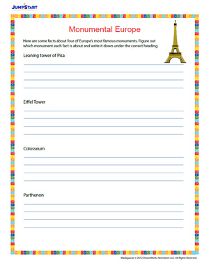 Monumental Europe – Free 4th Grade Geography Worksheet