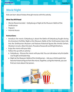 Movie Night - Social Studies activity for kids