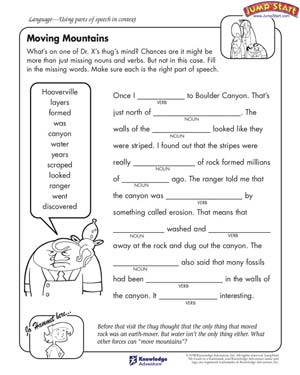 Printables English Worksheets moving mountains english worksheets on parts of speech jumpstart free worksheet for kids