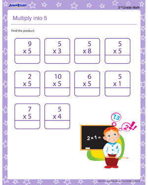Multiply into 5! - Free printable worksheet