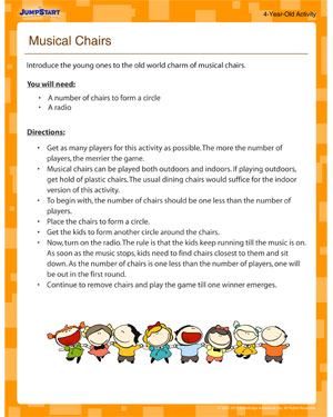 Musical Chairs - Teach your four year old the rules of the game