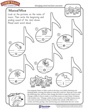 math worksheet : musical mice  english worksheets for kids on initial and final  : Worksheets For Kindergarten English