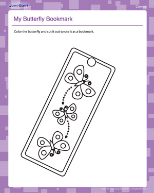 My Butterfly Bookmark - Free Coloring Worksheet for Kids