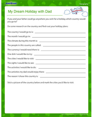 math worksheet : my dream holiday with dad  fun father s day geography worksheet  : Dads Worksheets Multiplication