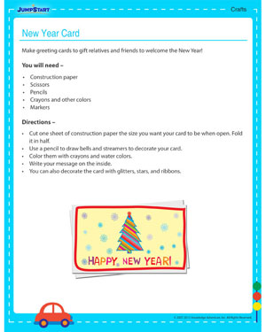 New Year Card! - free 3rd grade activity for kids