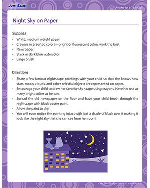 Night Sky on Paper - Activity for 6-year olds