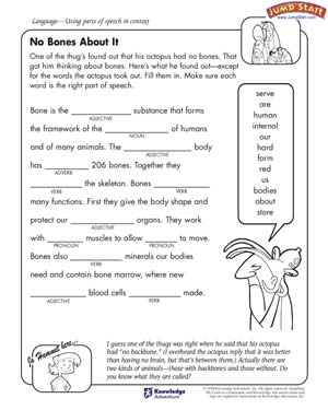 No Bones About It - Free English Worksheet for Kids
