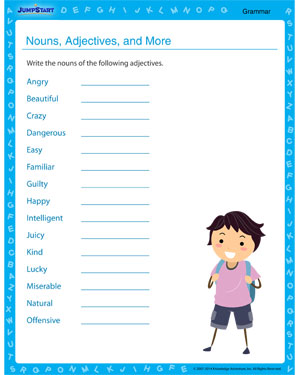 math worksheet : nouns adjectives and more  free grammar printable worksheet on  : Adjective Worksheet For Kindergarten