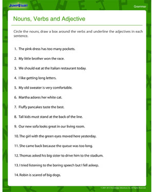 Worksheets Adjective Worksheets 4th Grade nouns verbs and printable fourth grade grammar adjectives