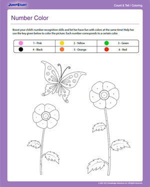 Number Color - Free Counting & Coloring Worksheet for Kindergarten