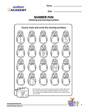 Number Fun – Math Worksheet on Ordering and Counting Numbers – JumpStart