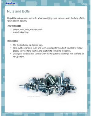 Nuts and Bolts - Pattern activity for kids