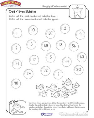 Odd 'n Even Bubbles – Math Worksheet on Odd and Even Numbers ...