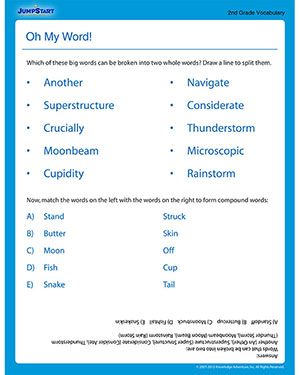 Printables 5th Grade Vocabulary Worksheets oh my word free printable 2nd grade vocabulary jumpstart worksheet