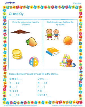 Oi and Oy - Phonics PDF worksheet