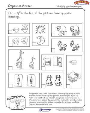 math worksheet : opposites attract  worksheet on opposites and antonyms for kids  : Opposite Words Worksheets For Kindergarten