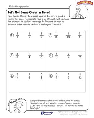 math worksheet : letu0027s get some order in here  fractions worksheets for kids  : Ordering Fractions Worksheet 5th Grade