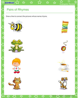 math worksheet : pairs of rhymes  printable rhyming worksheets for kids  jumpstart : Free Rhyming Worksheets For Kindergarten