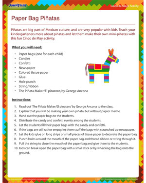 Paper Bag Pinatas - Free Cinco de Mayo activity for Kids