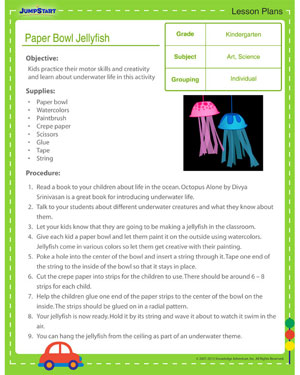 Paper Bowl Jellyfish - Free Craft Lesson Plan for ...