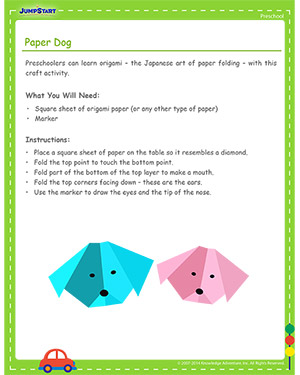 Paper Dog - Free Cinco de Mayo activity for Kids
