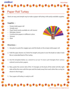 Paper Roll Turkey - Free Thanksgiving Activity