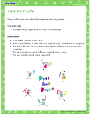 Pass and Rhyme - Fun Activity to teach your child rhyming
