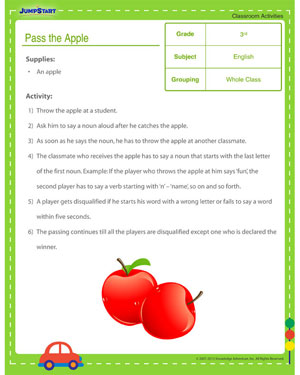 Pass the Apple - Classroom activity for kids