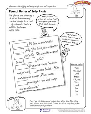 Printables Interjections Worksheet peanut butter n jelly picnic conjunctions and interjections picnic