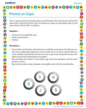 Phonics on Caps - Phonics activity for kids