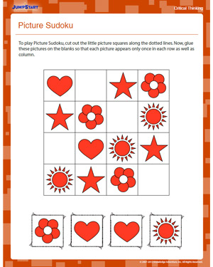 math worksheet : picture sudoku  free critical thinking worksheet for kindergarten  : Critical Thinking Worksheets For Kindergarten