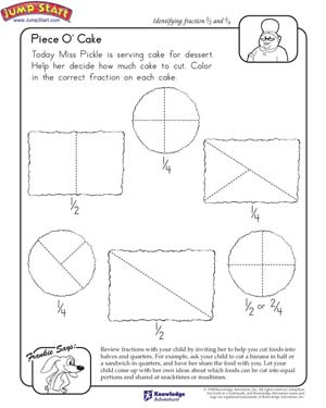 piece o cake  math worksheet for kids on fractions  jumpstart piece o cake  free math fractions worksheet for kids