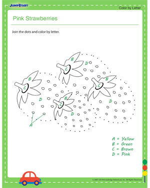 Pink Strawberries - dot to dot worksheets for kids