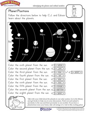 Planet Positions - Free Science Worksheet for Kids