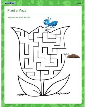 math worksheet : plant a maze  free plant worksheet for kids  jumpstart : Maze Worksheets For Kindergarten