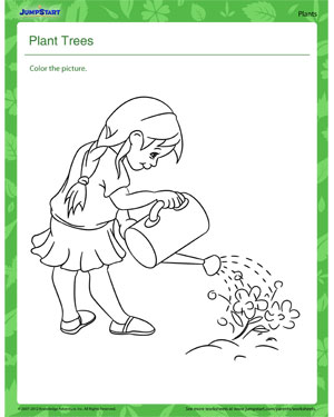 math worksheet : plant trees  free plant worksheet for kids  jumpstart : Plant Worksheets For Kindergarten